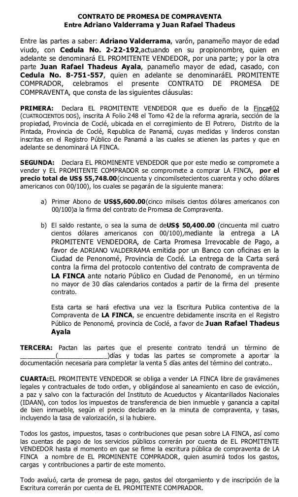 Descargas de Documentos para la compra de finca raíz en Panamá